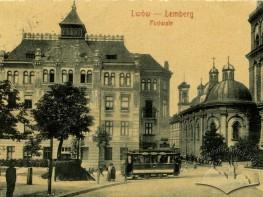 Трамвай на вулиці Підвальній біля Успенської церкви
