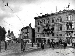Halytska Square decorated on occasion of the Kaiser's visit
