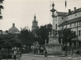 St. Jan of Dukla column in the public garden in front of Bernardine church