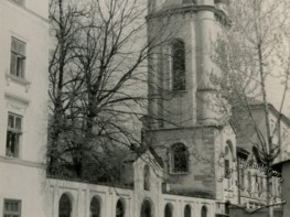 Virmenska street and the bell tower of Armenian church