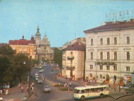 """Electric transport on Lviv streets - trolleybus """"Kyiv-4"""" in the city center"""
